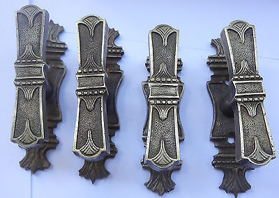 Lot 4 Antique Solid Brass Door or Window Lever Handles + Back Plates Free S/H
