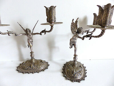 SUPERB PAIR of ANTIQUE 19th. CENTURY SILVERPLATED BRONZE CANDELABRA 1880's