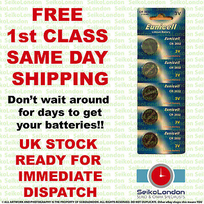 5 x CR2032 3V Eunicell  Lithium Button Cell Batteries for Watches,  Fobs, Toys.