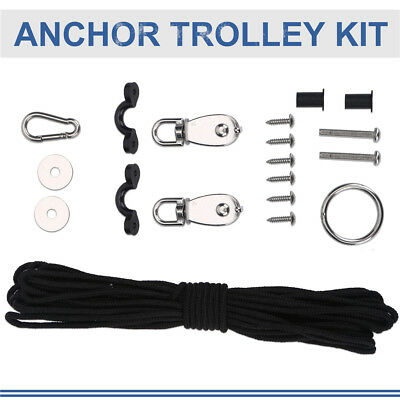 Kayak Canoe Anchor Trolley Kit System Pulley Cleat Pad Eye Ring 10M Rope Set