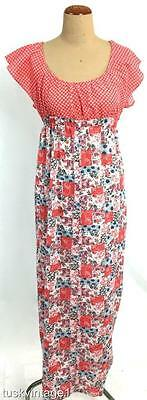 VINTAGE 60s 70s RED white tiny flowers PATCHWORK floral MAXI skirt dress 8 10