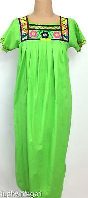VINTAGE 70s MEXICAN Bright LIME GREEN Artisan embroidered COTTON smock dress 6 8