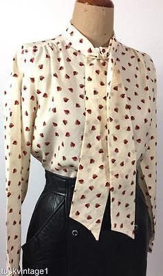 VINTAGE 70s Levi Strass CREAM embossed cherry tan LEAF print PUSSY BOW blouse 10
