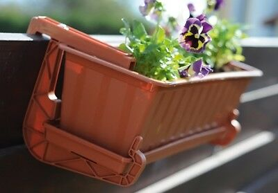 Quality Plastic Brown Rail Bracket -Balcony Flower Box Holder Versatile Bracket