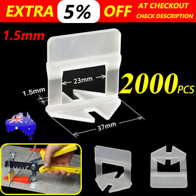AU 2000 PCS x Tile Leveling System Clips Levelling Spacer Tool Wall Floor 1.5mm