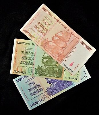 3 Zimbabwe banknotes-1 x 10, 20 & 50 Billion dollars -2008 series currency
