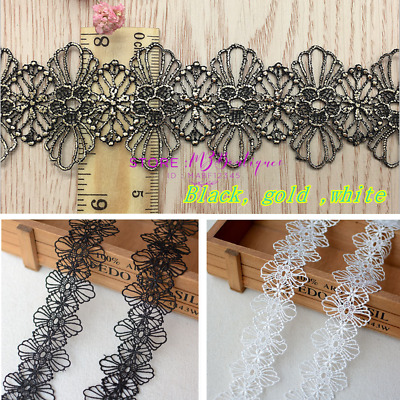 1 Yard Crochet Lace Trim Ribbon Wedding Applique Dress Sewing Decor Crafts FP218