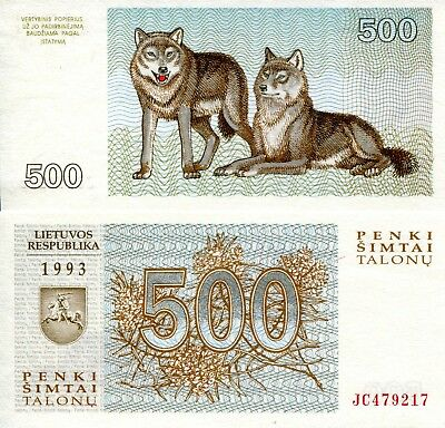 LITHUANIA 500 Talons Banknote World Paper Money UNC Currency Pick p-46 Wolves