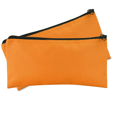 Bank Bags Money Pouch Security Deposit Utility Zipper Coin Bag,Orange 2Pk New