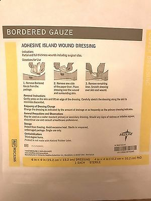 15PIECES ADHESIVE ISLAND WOUND Bordered Gauze 6in X 6 in (15.2 cm X 15.2 cm )