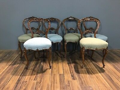 This is a beautiful Set of Victorian 19thC Dining Chairs - Carved Balloon Backs