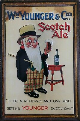 Wm YOUNGER /& CO Scotch Ale pub bar Embossed Metal Vintage Advert Sign
