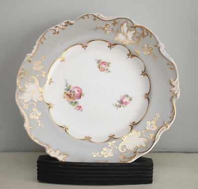 A Pretty Pink and Grey Hand Painted Floral Cabinet Plate, Applied Gilding