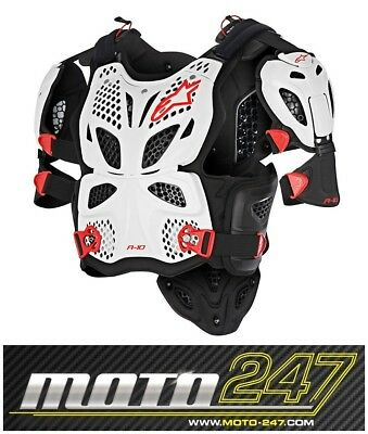 New Alpinestars A10 Motocross Mx Full Chest Protector White Black Red