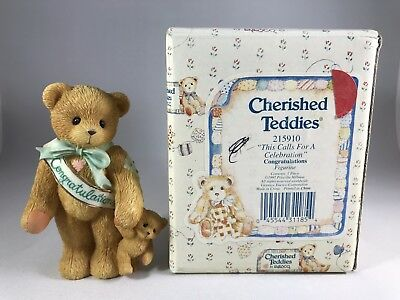 Cherished Teddies 215910 Congratulations Mint Condition w/ Certificate