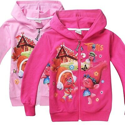 Girl's TROLLS Zip Up Hoodie In 3 Styles/Colours 100% Cotton - 4-10 yrs FREE P&P