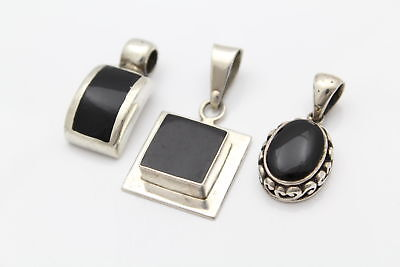 Lot of Three Black Onyx Pendants in Sterling Silver - Oval - Square - Rectangle