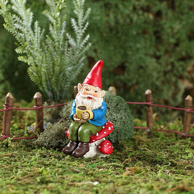 "2.75"" My Fairy Gardens Mini Figure Pick - Soren the Coffee Gnome Figurine Decor"