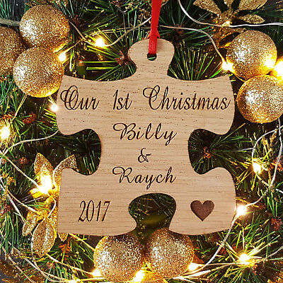 Personalised Our 1st Christmas Jigsaw Tree Decoration, Your First Xmas Bauble