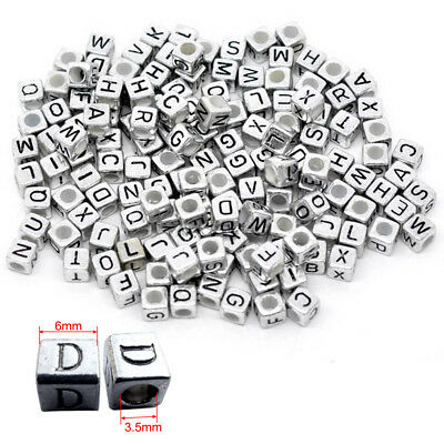 100 x 6mm Silver Black Letter Alphabet Cube Beads Mixed Single A-Z DIY Making