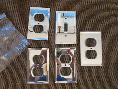 5 Vintage Beveled MIRRORED GLASS OUTLET COVER LOT electrical switch plate covers
