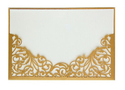 Gold Laser Cut Wedding Birthday Christmas party Invitation Cards Cover Case