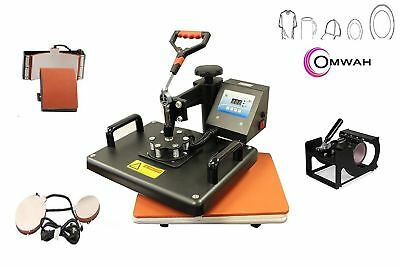 5 in 1 Heat Press Dual Digital Sublimation Transfer Machine T-Shirt Mugs Hat