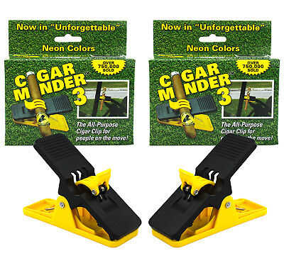 2 PACK - Cigar Minder Clip – Clamp Holder for Golf Carts or Boats - YELLOW