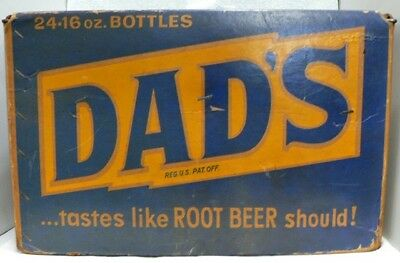 Old Thick Cardboard Dad's Root Beer 24 Pint Bottles Case
