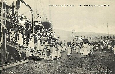 c1920 Lithograph Postcard St. Thomas US Virgin Islands Natives Coaling a US Ship