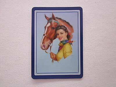 ONE SWAP CARD - LADY with HORSE - STUNNING -  ART -  Unused