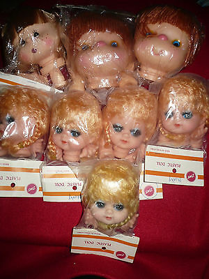 Lot of 8 Vintage New In Package Zim's Plastic Doll Heads and Hands for Crafts