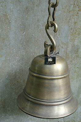 """large Nautical Front Door ship school Bell chain solid brass old style heavy 6"""""""
