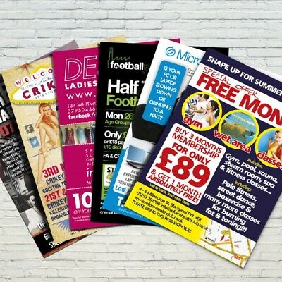 Flyers / Leaflets Printed on 130gsm Full Colour Gloss A6 DL A5 A4 A7 FROM £2.95