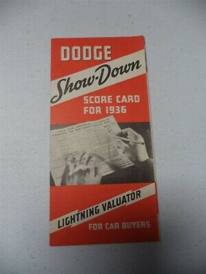 Dodge Show Down Score Card for 1936 Lightning Valuator for Car Buyers