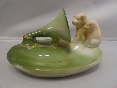 German Pink Pig  Mother and Baby Pig on Phonograph Rare Figurine
