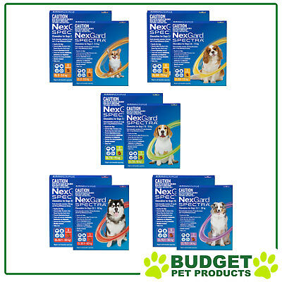 NexGard Spectra Flea Tick Heartworm Worm Chews 9 VALUE PACK - All sizes