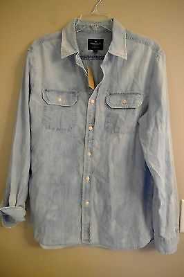 NWT AMERICAN EAGLE Classic Fit Button Front Tops LARGE Chambray Blue Available