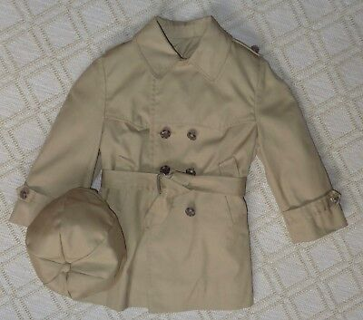 Vintage 4T Fieldston Toddler Boy's Trench Coat & Hat, Removable Lining