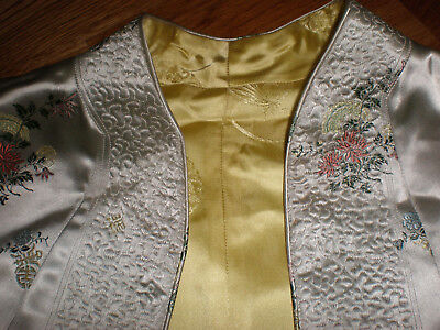 Satin Kimono Robe Reversible Chinese Dressing Gown Costume Asian Quilted