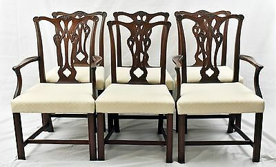 Set of 6 Baker Style Solid Mahogany Chippendale Dining Chairs Charleston Style