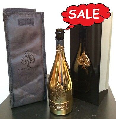 HOT SALE! ACE OF SPADES (Armand De Brignac) CHAMPAGNE EMPTY BOTTLE,BOX & SLEEVE!