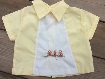 Vintage Baby Boy Shirt Embroidered Monkey's Yellow Short Sleeve Back Buttons