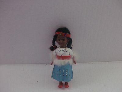 "vintage indian doll 8"" beaded leather dress etc...hard plastic body"
