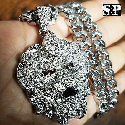 "Silver PT Big Lion Head Pendant & 10mm 30"" Cuban Heavy Chain Hip Hop Necklace"