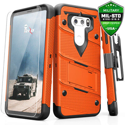 LG V30 Case, Zizo Bolt w/ Clear Glass Screen Protector, Kickstand and Holster