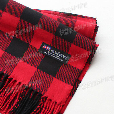 Women 100% CASHMERE Red/Black Square check tartan Plaid Scarf MADE IN SCOTLAND
