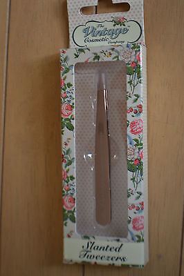 The Vintage Cosmetic Company Slanted Tweezers in gold colour RRP £8
