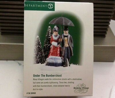 Retired Dept 56 Dickens Village 58460 Under the Bumbershoot Man Woman Umbrella