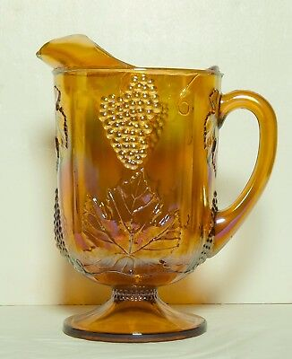 Indiana Gold Carnival Glass Pitcher Harvest Grape Leaves Pattern 64 oz.